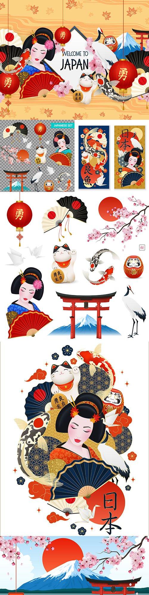 Japanese geisha and set of Japanese national symbols