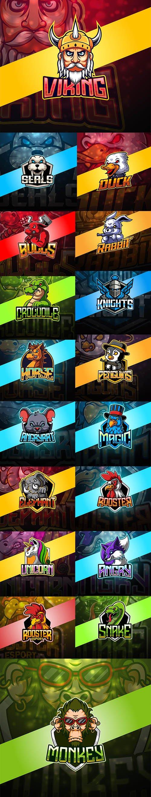 Angry Animals Esport Mascot Logo Design Set