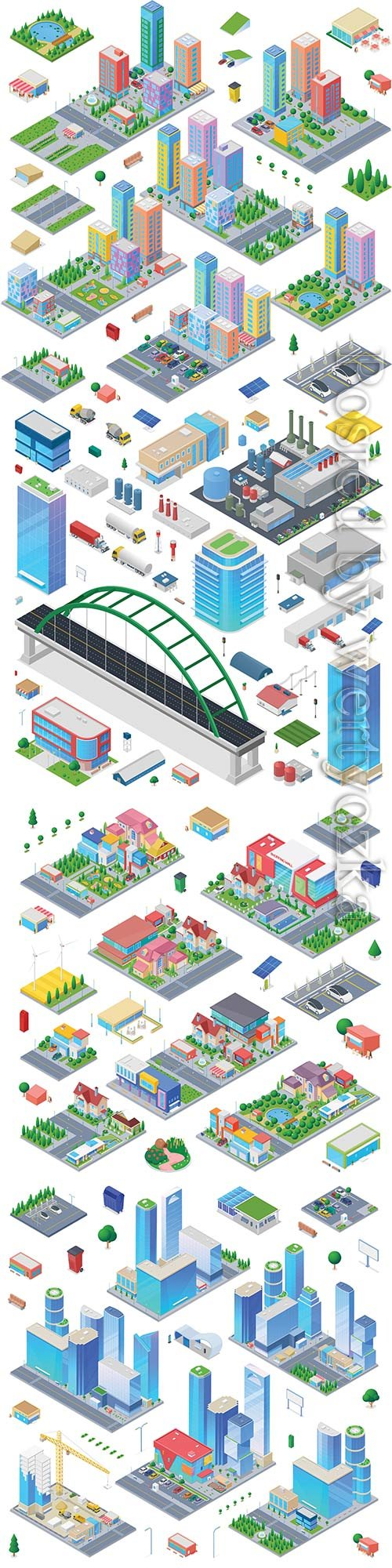 Cottage isometric scene generator city creator vector design