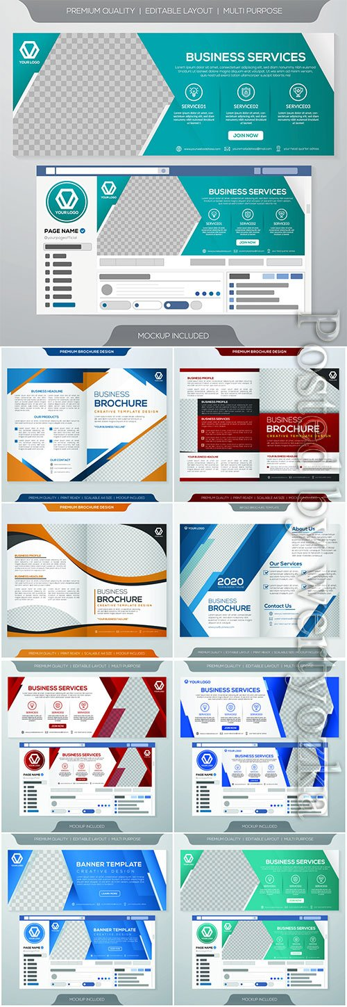 Set of business web banner, promotion kit template, flyer, book cover