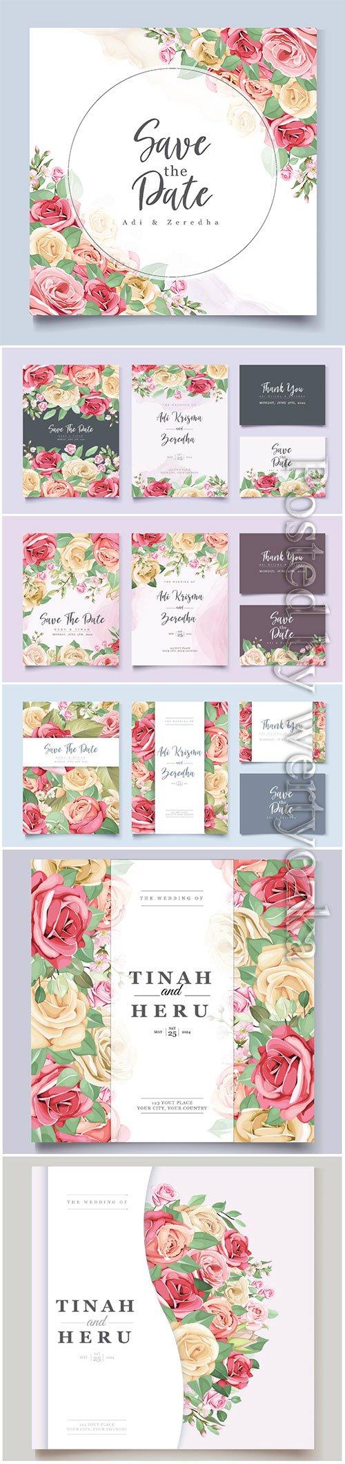 Elegant floral and leaves wedding invitation vector designs