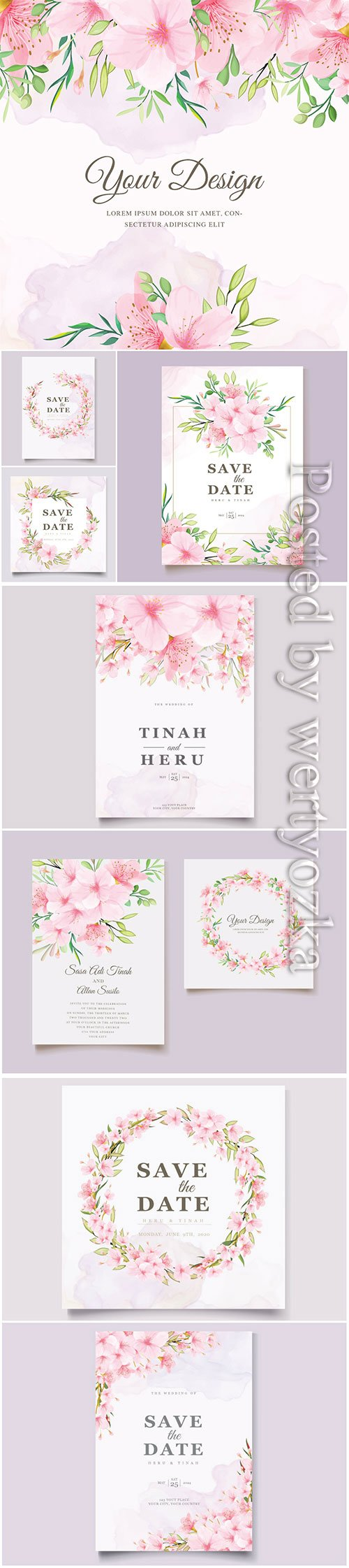 Wedding invitation cards with pink flowers in vector