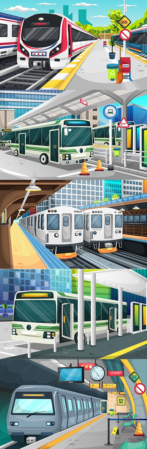 Metro station, railway and bus station in modern city illustration