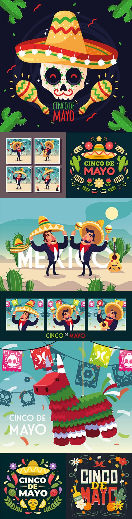 Synco de Mayo Mexican holiday premium illustration 4