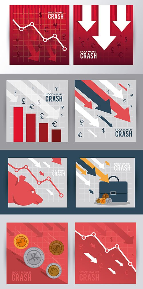 Stock Market Crash with Arrows Down Illustration Set