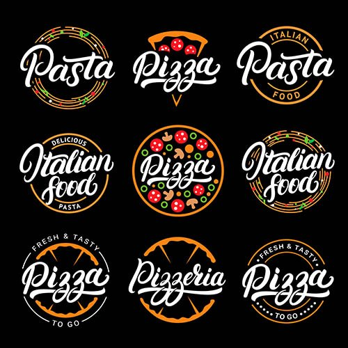 Pizza and Pasta Italian Food Lettering Logos