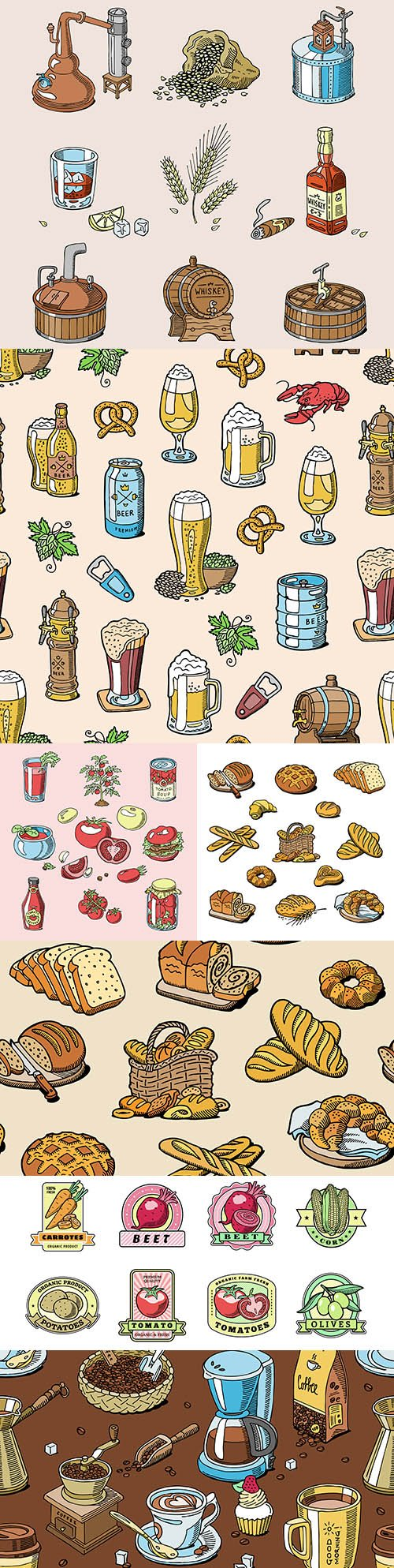 Drinks, bread, coffee and vegetables vintage colection elements