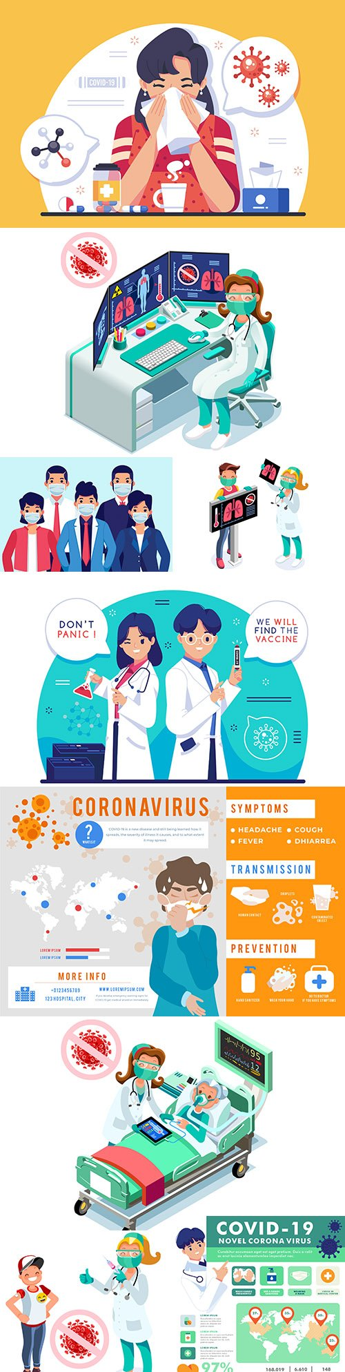 Coronavirus symptoms and first signs medical examination