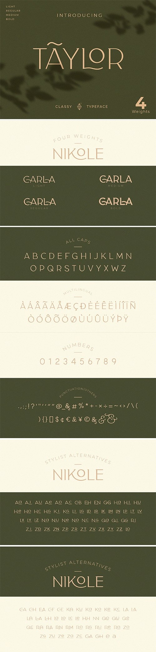 Classy Taylor Typeface