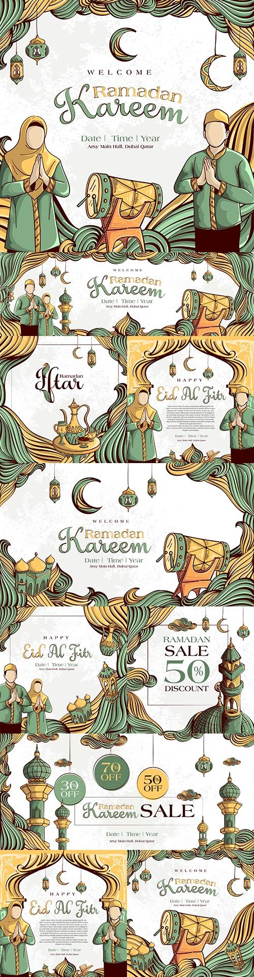 Ramadan Kareem painted Islamic illustration ornament grunge