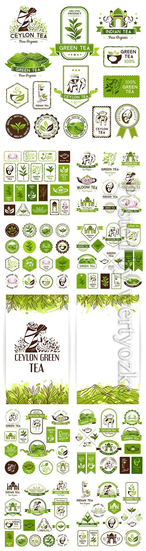 Ceylon tea labels and stickers in vector