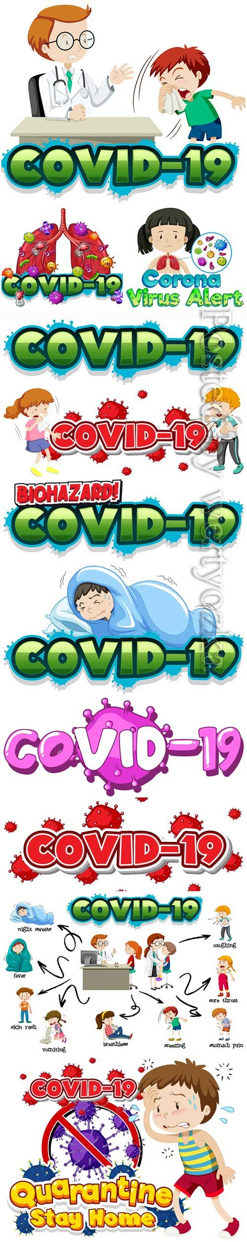 COVID 19, Coranavirus vector illustration sets # 20