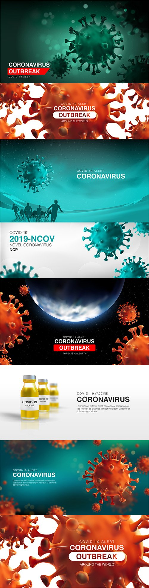 Realistic 3d illustrations vaccine for cell coroniviruses