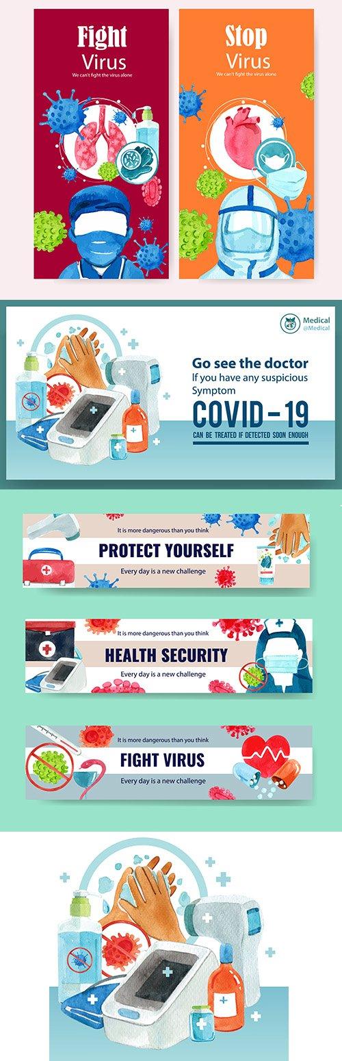 Medical design leaflet doctor watercolor illustrations
