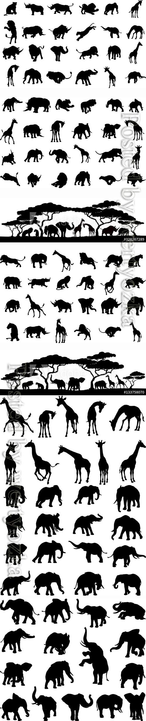 Silhouettes of animals in vector, elephant, giraffe, lion, rhino, leopard