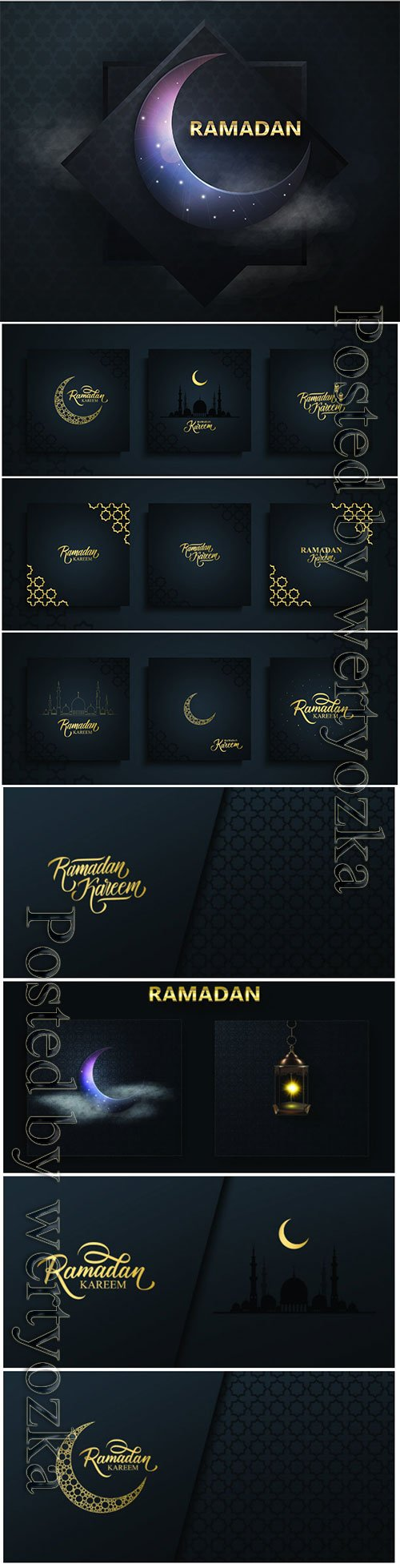 Ramadan Kareem vector background, Eid mubarak greeting card