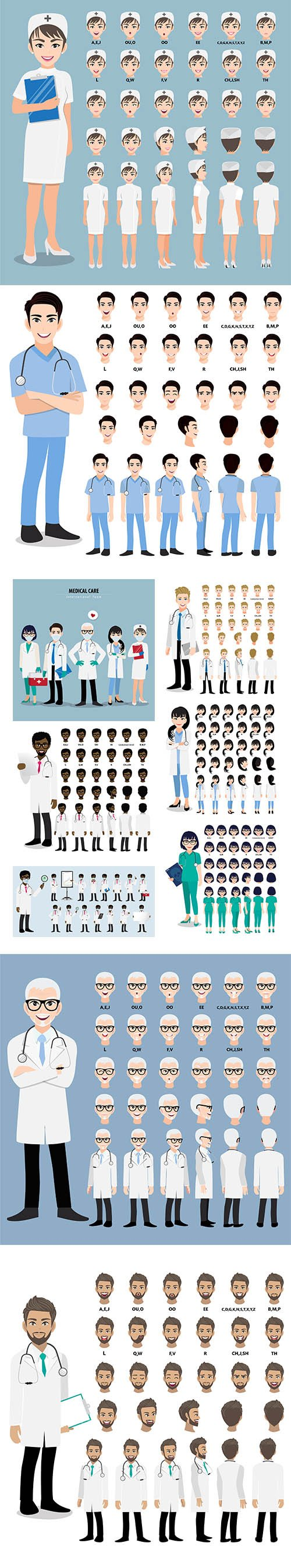 Cartoon Character with Professional Doctor Animation View Set