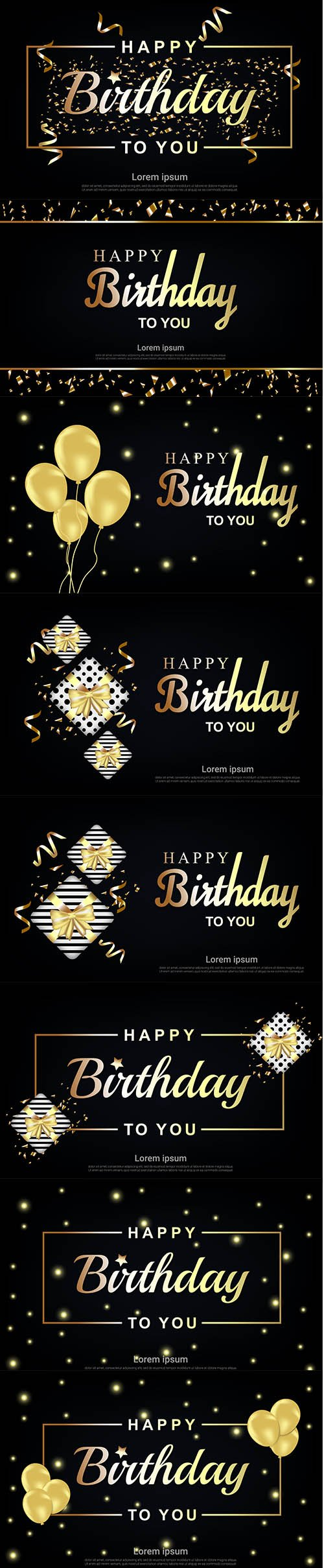 Happy Birthday Illustration with Gold Letter Set