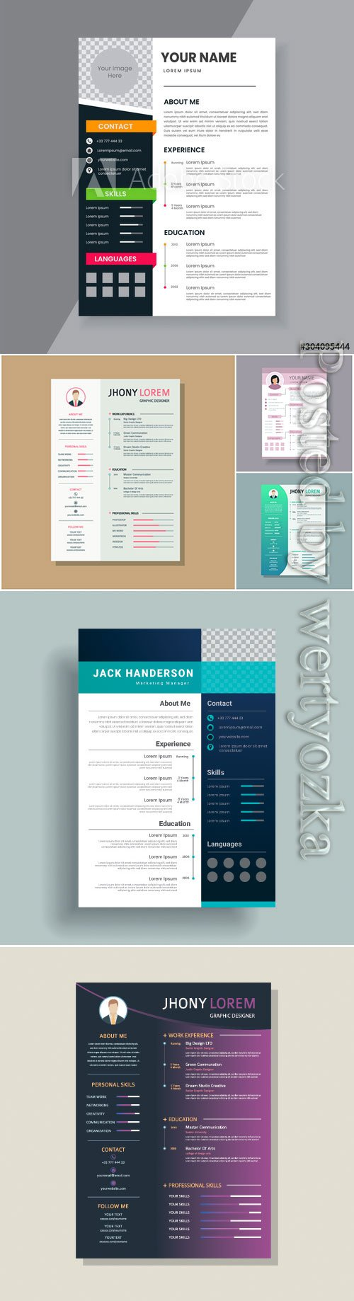 Creative resume and template vector design