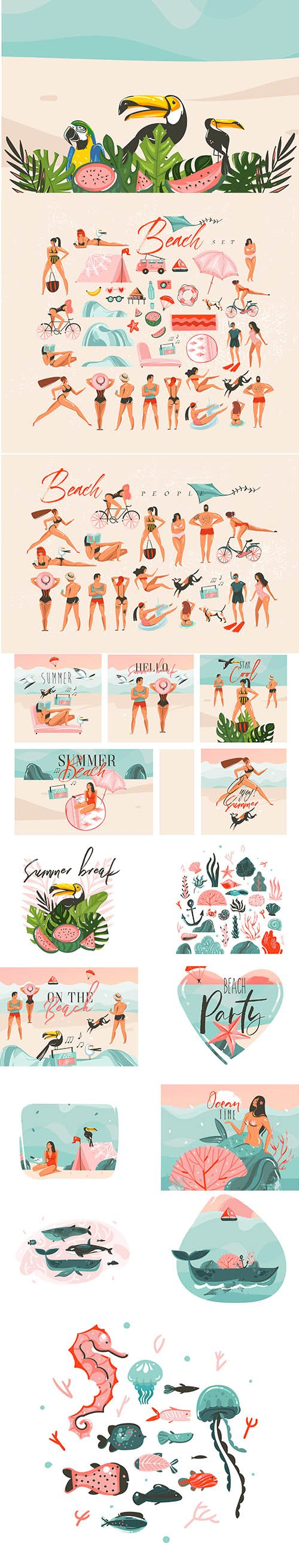 Hand-Drawn Abstract Graphic Cartoon Summer Time Flat Illustrations Collection Set Vol 2