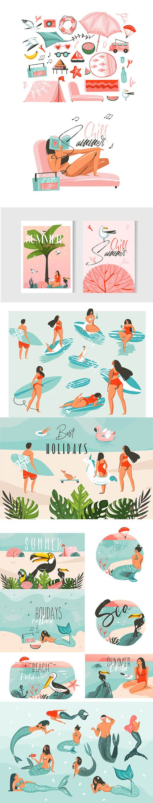 Hand-Drawn Abstract Graphic Cartoon Summer Time Flat Illustrations Collection Set