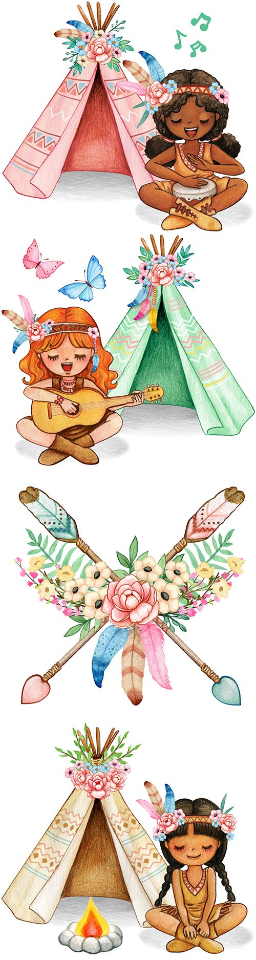 Boho floral Indian arrows and girl with flowers watercolor