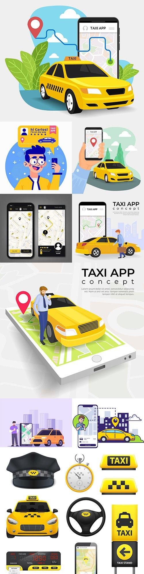 Taxi concept application service illustration design
