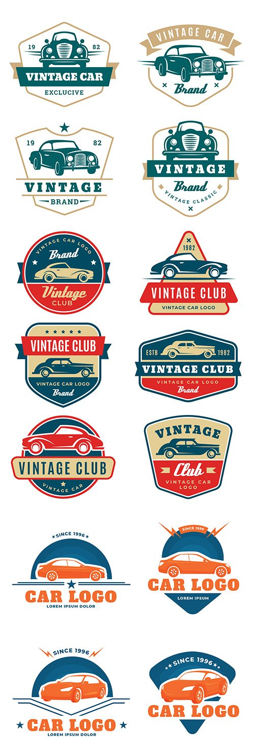 Collection car logos design in vintage style