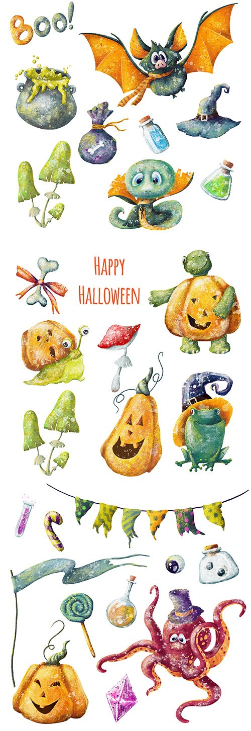 Happy Halloween crtoon elements illustration design