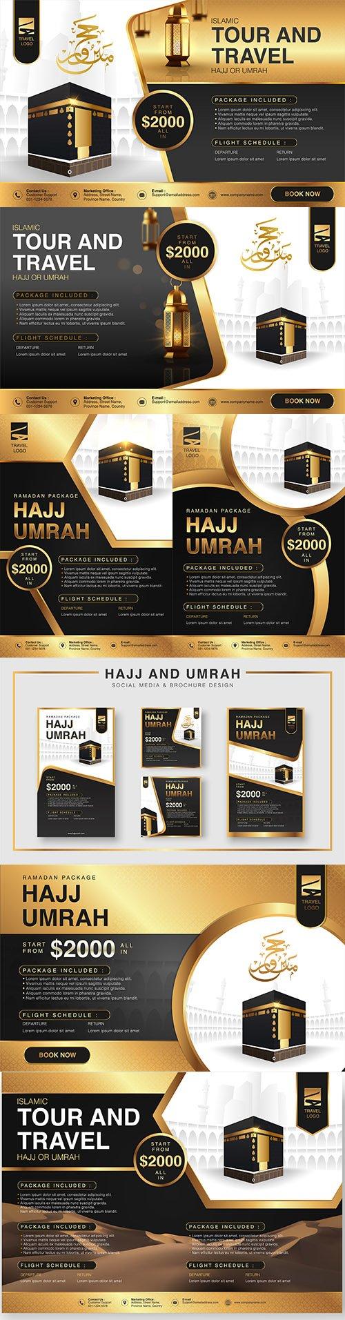 Islamic Ramadan Hajj and Umtra brochure design illustration