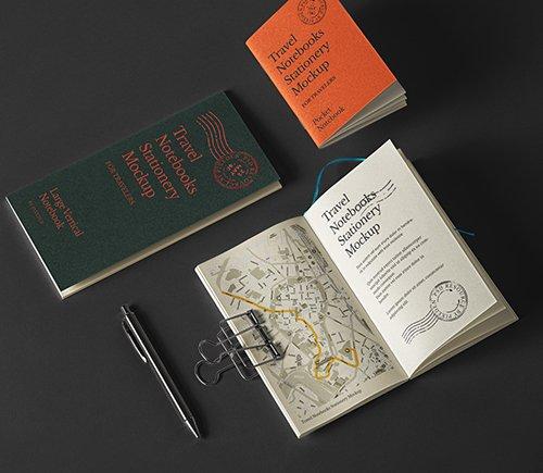 Travel Notebook Stationery Mockup