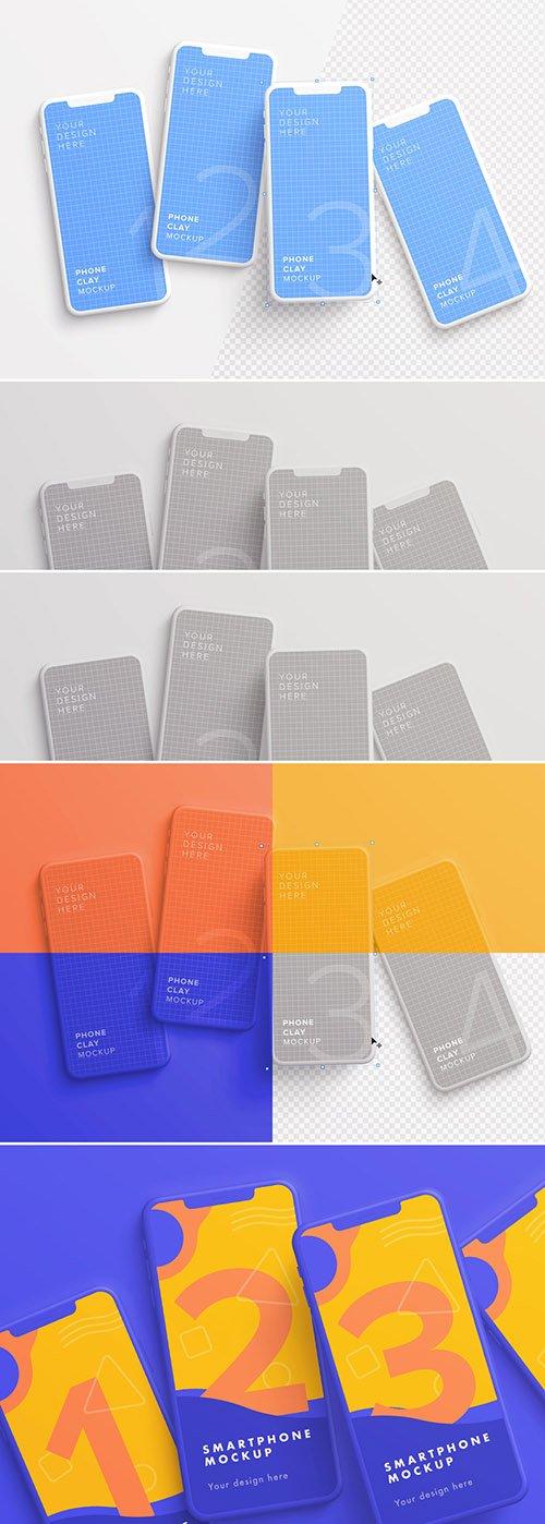4 Smartphones Messy Mockup 329631929