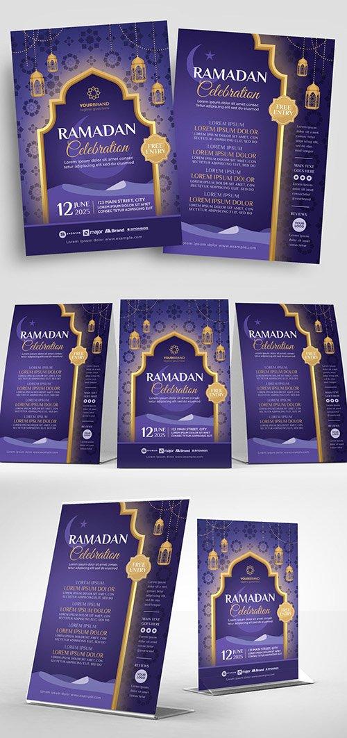 Purple Ramadan Event Flyer Layout with Hanging Lantern Illustrations 329609957