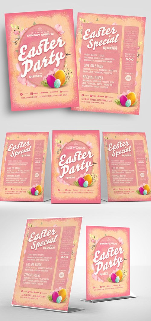 Pink Easter Party Flyer Layout with Egg Illustrations 329609733