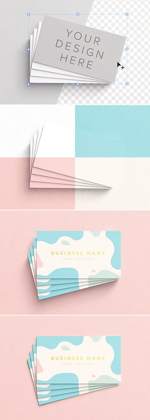 Fan Stack of Business Cards Mockup 329630550