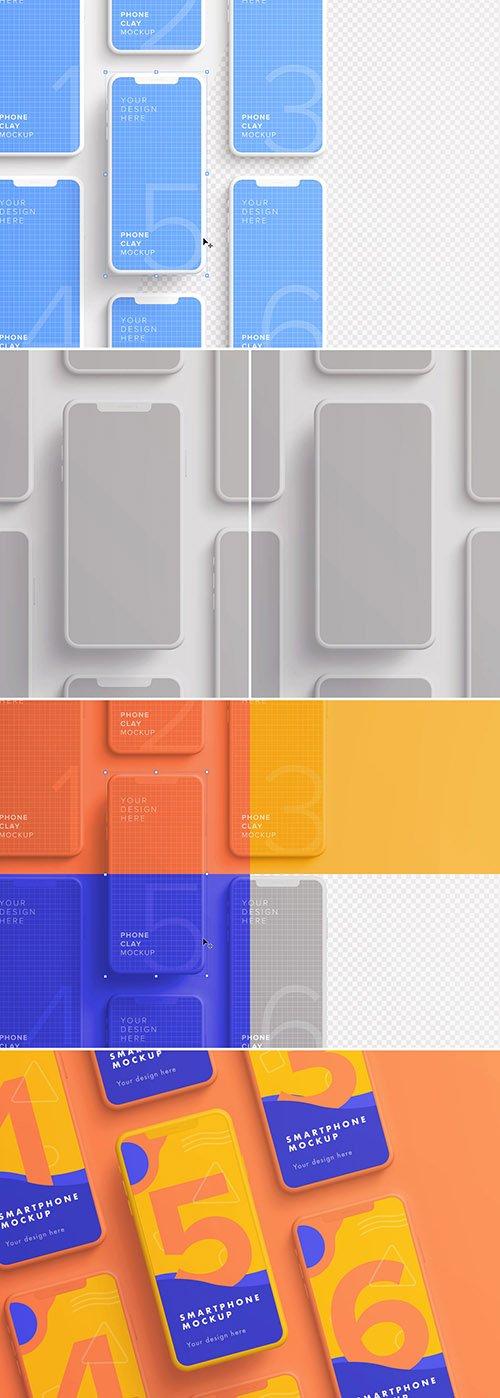 7 Smartphones in Grid Mockup 329632104