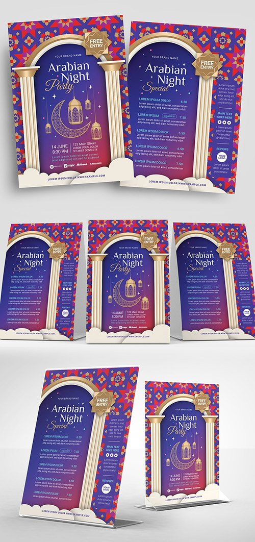 Bright Flyer Layout with Hanging Lantern and Window Illustrations 329609693