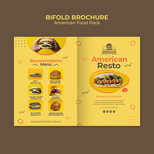 Bifold Brochure PSD Template American Food Pack
