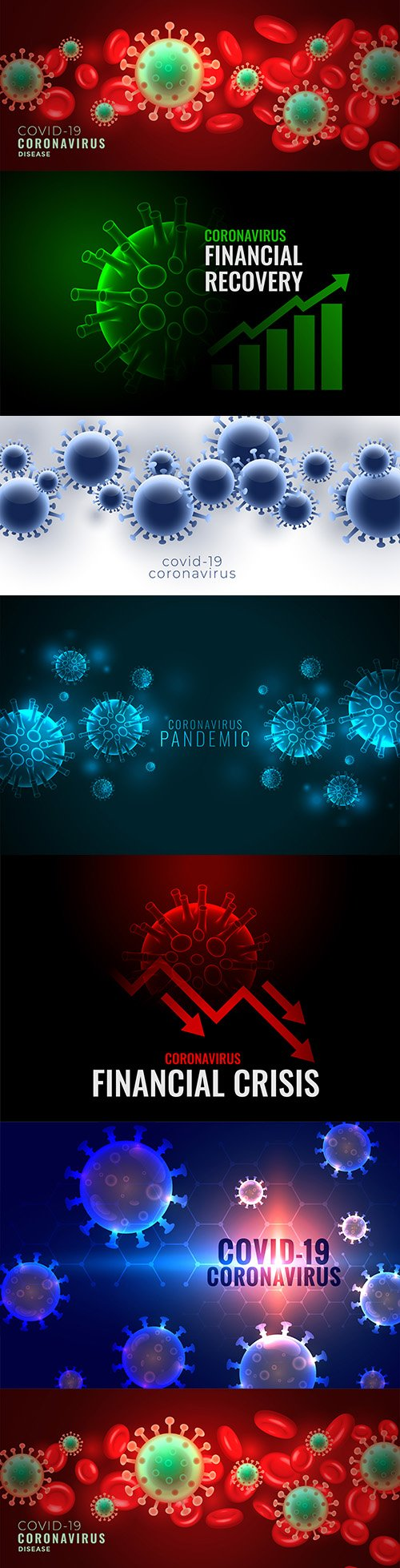 Coronavirus covid-19 pandemic banner with viral cells