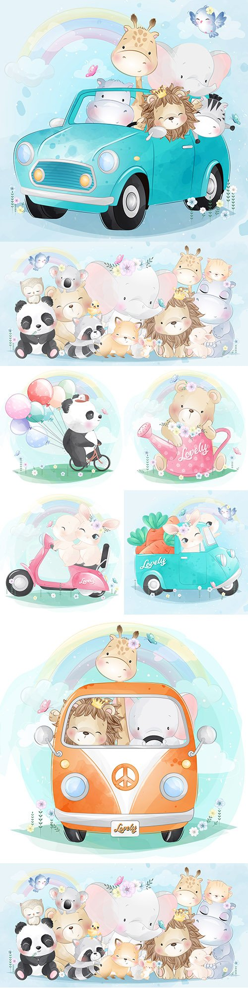 Cute animals with balloons in car illustration watercolor
