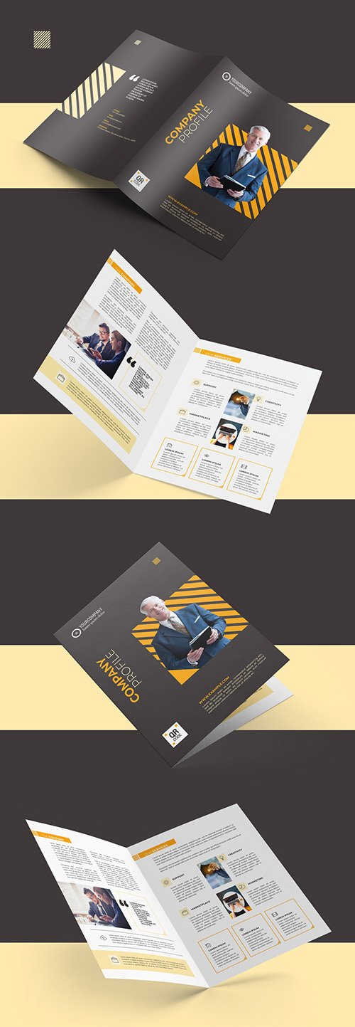 Bifold Brochure Layout with Orange Accents 290594697 PSDT