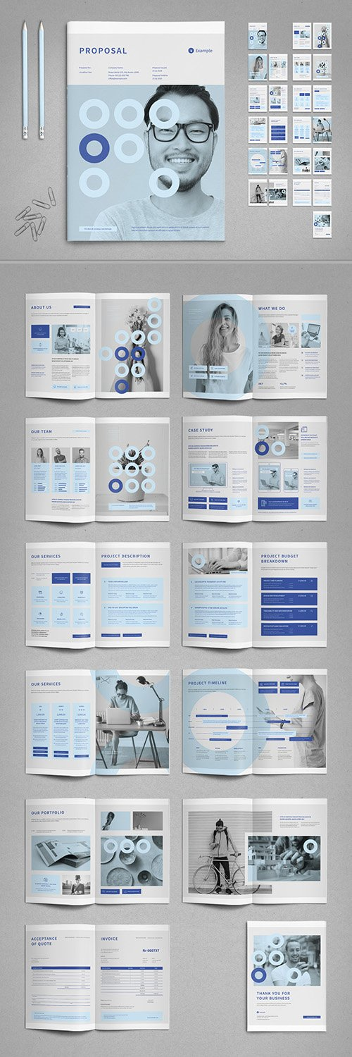 Agency Proposal Layout in Pale Blue and Light Gray 336176345