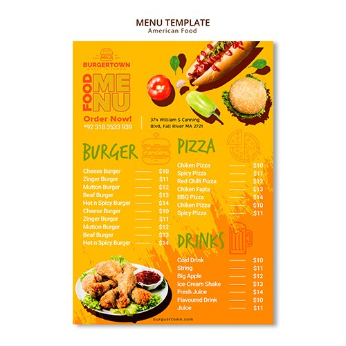 American Food PSD Menu Design