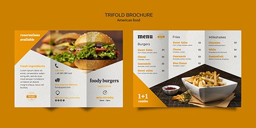 American fast food and fries combo trifold PSD brochure