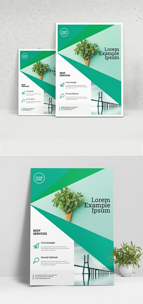 Business Flyer Layout with Green Geometric Elements 333287450