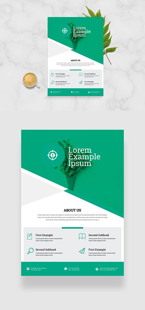 Business Flyer Layout with Green Geometric Elements 333287431