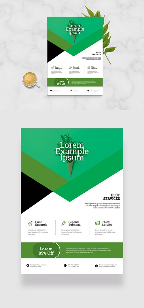 Business Flyer Layout with Green Geometric Elements 333287436