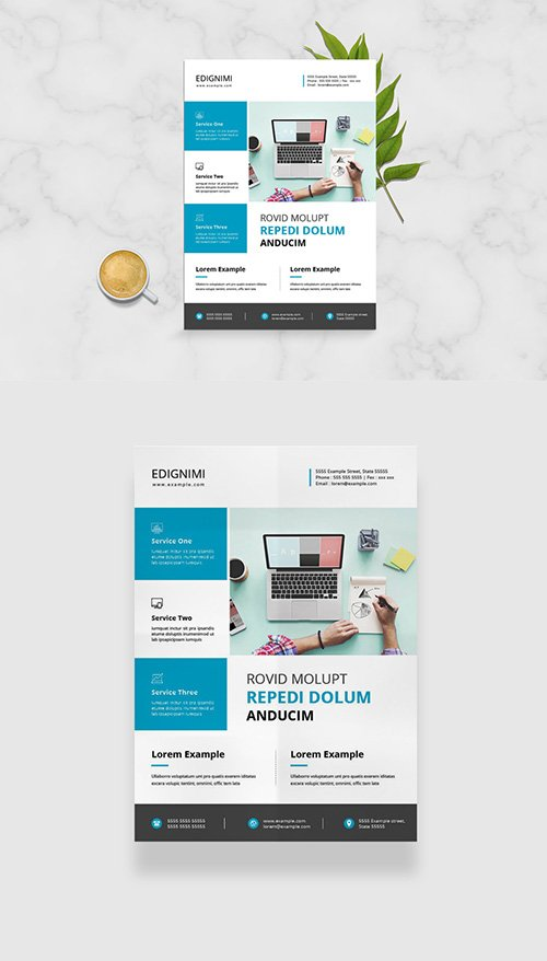 Business Flyer Layout with Blue Accents 333294132