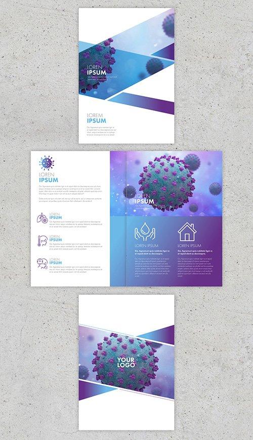 Blue and Purple Coronavirus Informational Trifold Brochure Layout 333538014