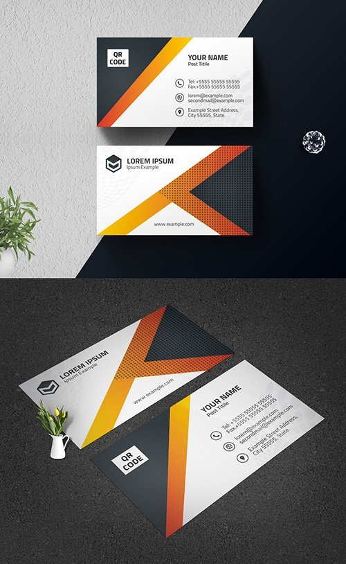 Business Card Layout with Gradient Automobile Illustration 334526180